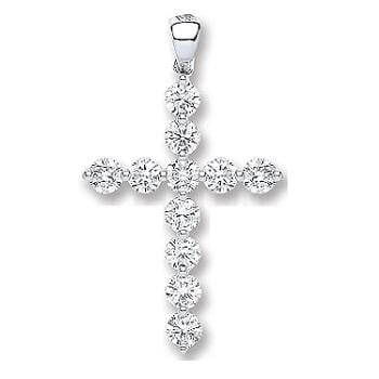 18K white gold and round cut 0.70 carat weight diamond cross pendant