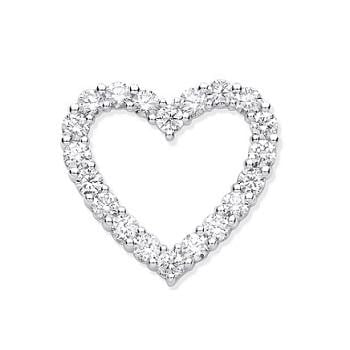 Pobjoy 18K White Gold 1.00 CTW Diamond Heart Pendant