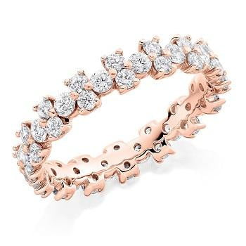 18K rose gold 1.5CTW Brilliant Round Cut Diamond Full Eternity Ring Pobjoy