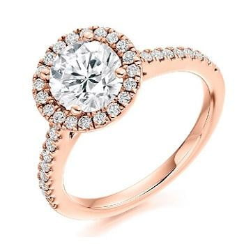 18K Rose Gold 1.70 CTW Diamond Halo Ring G-H/Si - Pobjoy Diamonds