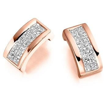 18K Gold Princess Cut 0.55 CTW Diamond Hug Earrings.-Pobjoy Diamonds