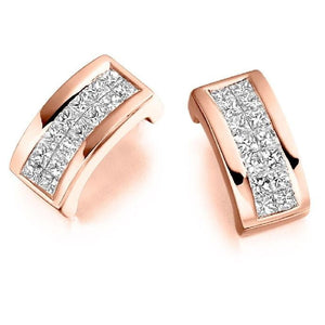18K Gold Princess Cut 0.55 CTW Diamond Hug Earrings.-Pobjoy Diamonds, Surrey