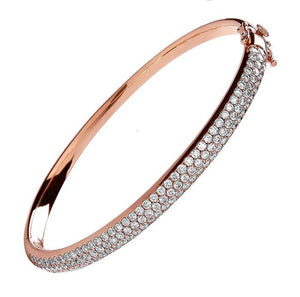 18K Rose Gold 3 Carat Diamond Pave Bangle - Pobjoy Diamonds