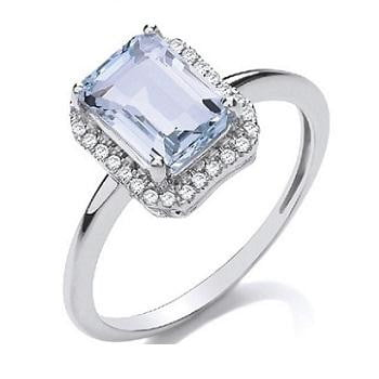 18K White Gold, Diamond & 2.00 Carat Aquamarine Ring G/Si