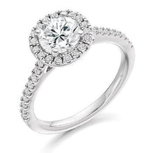 Load image into Gallery viewer, 18K White Gold Round Brilliant Cut 1.40 Carat Diamond Halo Ring F/Si - Pobjoy Diamonds