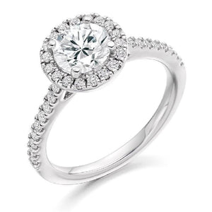 18K White Gold Round Brilliant Cut 1.40 Carat Diamond Halo Ring F/Si - Pobjoy Diamonds