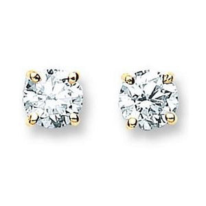 18K Gold 1.00 Carat Diamond Round Brilliant Cut Stud Earrings G-H/Si