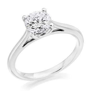 950 Platinum 1.00 Carat Solitaire Round Brilliant Cut Cathedral Diamond Ring F/VS1 - Pobjoy Diamonds
