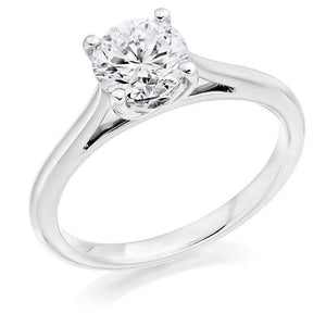 950 Platinum 1.00 Carat Solitaire Round Brilliant Cut Cathedral Diamond-Ring Mount - Pobjoy Diamonds