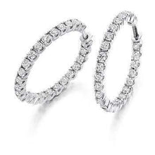 Load image into Gallery viewer, 18K gold claw set 1.00 carat diamond hoop earrings-Pobjoy Diamonds