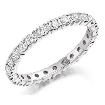 Pobjoy 18K  white gold full eternity ring with 1.00 carat total weight of brilliant round cut diamonds. Choice of diamond grades