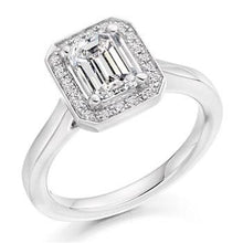 Load image into Gallery viewer, 950 Platinum and 1.20 Carat Emerald Cut Engagement Ring Pobjoy