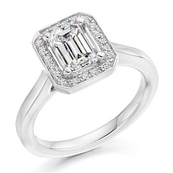 950 Platinum and 1.20 Carat Emerald Cut Engagement Ring Pobjoy