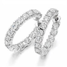 Load image into Gallery viewer, 950 Platinum & Claw Set 2.75 CTW Diamond Hoop Earrings-Pobjoy Diamonds