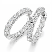 Load image into Gallery viewer, 950 Platinum & Claw Set 2.75 CTW Diamond Hoop Earrings. - Pobjoy Diamonds