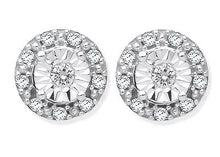 Load image into Gallery viewer, 9K White Gold & 0.13 CTW Diamond Stud Earrings