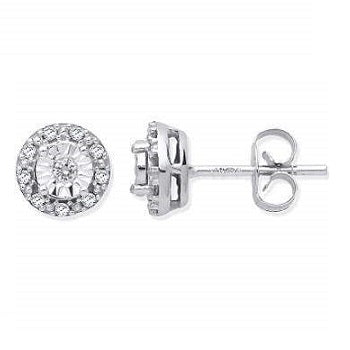 9K White Gold & Diamond Round Stud Earrings From Pobjoy Diamonds