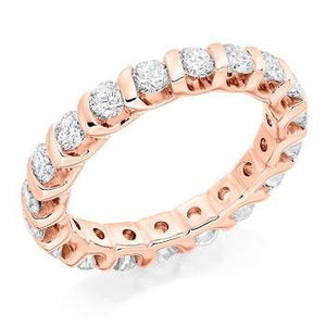 18K rose gold 2 carat bar set diamond full eternity ring by Pobjoy