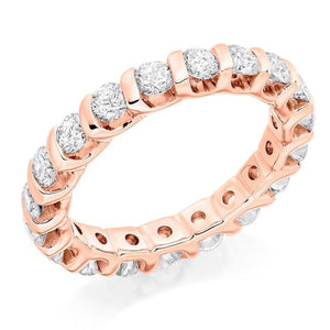 18K Rose Gold 2.00 CTW Bar Set Diamond Full Eternity Ring - Pobjoy Diamonds