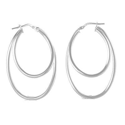 Sterling SIlver Creole Double Hoop Earrings