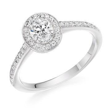 Pobjoy Oval Cut Halo Diamond Engagement Ring D-E/VS