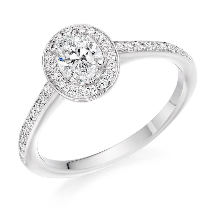Pobjoy Oval Cut Halo Diamond Engagement Ring 0.55 CTW