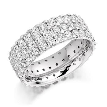 950 Platinum Three Row 3.10 CTW Diamond Full Eternity Ring From Pobjoy