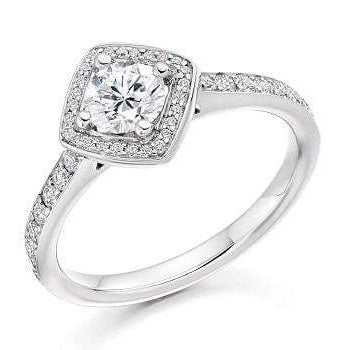 Round Brilliant Cut 0.85 CTW Diamond Halo & Shoulders Engagement Ring F/VS2-Verbier