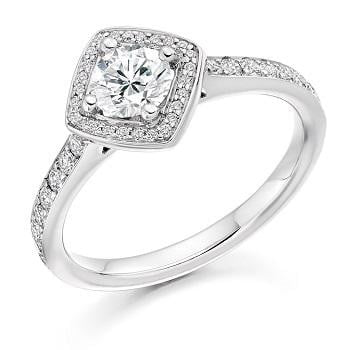 Brilliant Round Cut 0.85 CTW Halo Diamond Engagement Ring G/Si