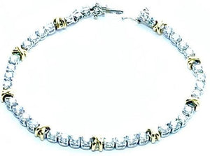 950 Platinum & Gold Tennis Bracelet 3.2 CTW Claw Set Diamonds