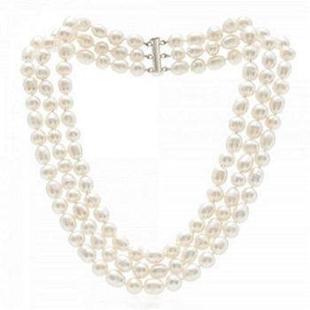 Triple Strand Freshwater Cultured Pearl Necklace & Silver Clasp - Pobjoy Diamonds
