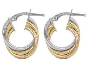 9K Three Colour Gold Hoop Earrings From Pobjoy