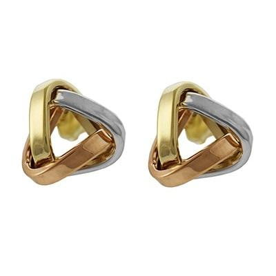 9K THree Colour Gold Triangular Knot Stud Earrings Pobjoy