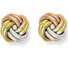 Load image into Gallery viewer, Three Colour 9K  Gold Knot Stud earrings - Pobjoy Diamonds