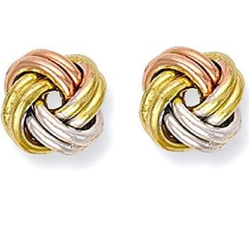 Three Colour 9K  Gold Knot Stud earrings - Pobjoy Diamonds