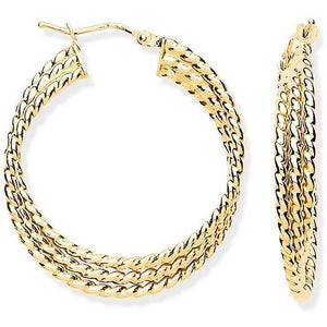 Pobjoy 9K Yellow Gold Layered Hoop Earrings