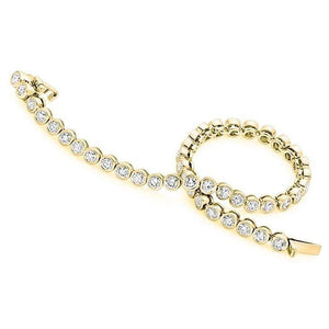 18K Yellow Gold Ladies Round Cut 4.00 CTW Diamond Tennis Bracelet - Pobjoy Diamonds