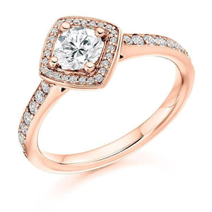 18K RG Brilliant Round Cut 0.85 CTW Halo Diamond Engagement Ring G/Si