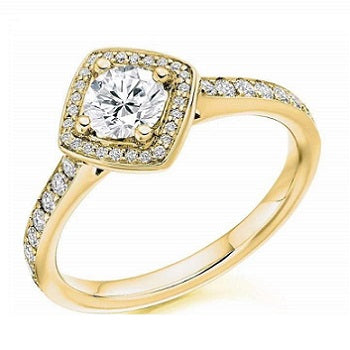 Round Brilliant Cut 0.85 CTW Diamond Halo & Shoulders Engagement Ring F/VS-Verbier