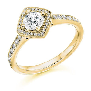 18K YG Brilliant Round Cut 0.85 CTW Halo Diamond Engagement Ring G/Si