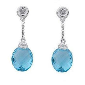 9K White Gold Diamond & Topaz Earrings - Pobjoy Diamonds