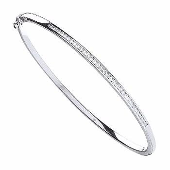9K White Gold Ladies Diamond Bangle 0.50 CTW - Pobjoy Diamonds
