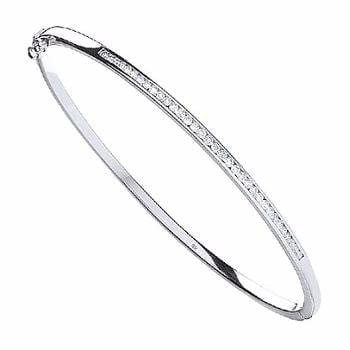 9K White Gold Ladies Diamond Bangle - Pobjoy Diamonds
