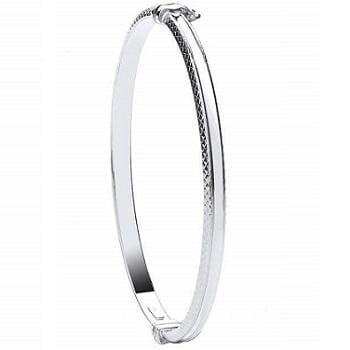 White 9K Gold Ladies Diamond-Cut Hinged Bangle - Pobjoy Diamonds