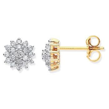 9K Yellow Gold Set Sunburst 0.50 CTW Diamond Earrings