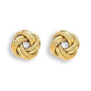 9K Yellow Gold Textured Small Knot Stud Earrings - Pobjoy Diamonds