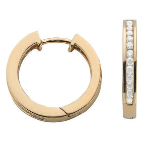 9K Yellow Gold 0.50 CTW Diamond Hoop Earrings From Pobjoy Diamonds