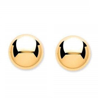 9 K Gold Large Ladies Ball Stud Earrings - Pobjoy Diamonds