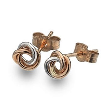 9K Rose & White Gold Round Knot Ladies Stud Earrings