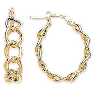 9K Yellow Gold Ladies Link Earrings-Pobjoy Diamonds